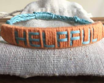 Helpful Bracelet, affirmation bracelet, wellbeing gift, wellbeing bracelet