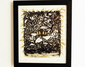 CHAT CACHÉ - Encre de chine et Peinture acrylique - 23x27