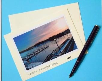 Lake Winnipesaukee, Blank Card, New Hampshire, New England, Thank you note, thank you card, Holiday Card, Stationery, Lake, Winter, USA