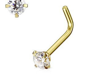 Gold Over Surgical Steel Prung Set Nose Ring Stud..20g..3mm cz