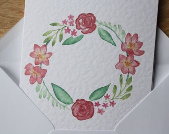 Floral wreath greetings card | watercolour print
