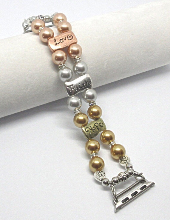 "Apple Watch Band, Women Bead Bracelet Watch Band, iWatch Strap, Apple Watch 38mm, 42mm, Hearts Love Faith Hope Swarovski Pearl Size 7 1/4"""