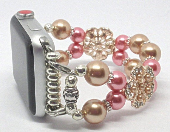 Rose Gold & Pink Pearl Size 6 1/2 - 6 3/4 Apple Watch Band, Women Bead Bracelet Watch Band, iWatch Strap, Apple Watch 38mm, 42mm