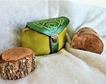 Medieval/Celtic /Escarcelle 'enchanted forest' leather hip bag