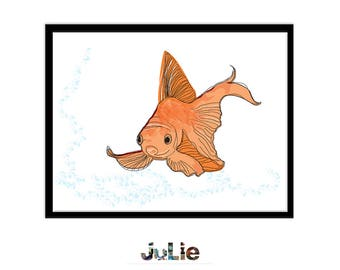 "Poster ""Goldfish"" digital illustration using Adobe Illustrator, designer, room decor kids"