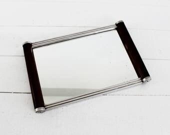 Mirrored Vanity Tray with Handles, Vintage Mirror Tray, Perfume Tray, Perfume Display, Mid Century Modern Vanity Mirror Tray, Art Deco Tray