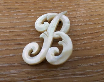 "ANTIQUE MOTHER-of-Pearl letter ""B"" brooch"