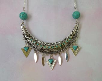 Ethnic silver and turquoise bib necklace