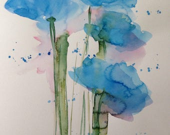 ORIGINAL WATERCOLOR watercolor painting image unique poppies abstrackt flowers of art Watercolour flowers