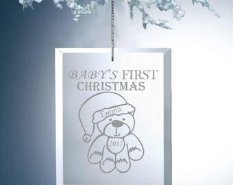 Baby's First Christmas Glass Ornament - Baby's First Christmas Ornament - Baby Shower Gift - Personalized Baby's First Christmas - Glass