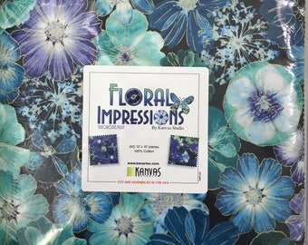 "Benartex Floral Impressions Turquoise/Blue Metallic 10"" X 10"" Pack/Layer Cake by Kanvas Studio - 42, 10"" x 10"" Precut Fabric Squares"