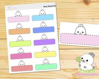 Rainbow Bunny Quarter Box Functional Planner Stickers for use with Erin Condren Vertical Life Planner and Happy Planner MAMBI