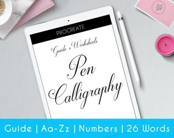iPad Pro | Hand Calligraphy | Procreate | 27 practice sheets | guide | Beginners | Modern Hand Lettering workbook | Learn Calligraphy | iP2