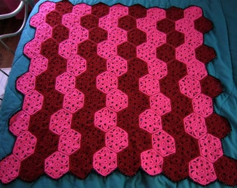 Handmade crochet Red & Pink flower motif afghan/blanket/throw with metallic/sparkly black border - ready to ship