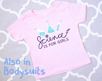 Science Baby Clothes, Nerdy Baby Clothes, Science Is For Girls, Pink Baby Shirt or Baby Bodysuit, Smart Baby Shower Gift