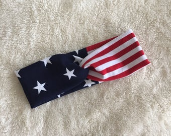 American flag headband, running gear, workout gear, yoga headband