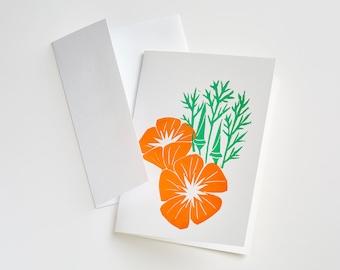 California Poppies, Single Card and Envelope, Block Print, Handmade, A2, 4.25 x5.5 orange, green, Blank