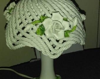 Rare Vintage Capodimonte Bassano white woven lattice lamp w roses