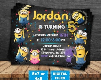 Minions invitation, minions party invite, minions birthday, minion birthday invitations, minions digital, minions printable, banana minions.