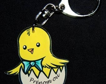 CHICK Keychain with name or text