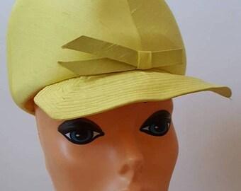 SUMMER SALE Lemon Yellow Silk Hat / Union Made Mod Twiggy Style Cap