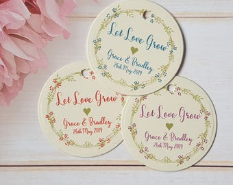 Personalised Wedding Favour Tags, Small 4.2cm Round / Circle Let Love Grow Tags - Ivory Cream Card / Floral Wreath Purple / Blue / Red