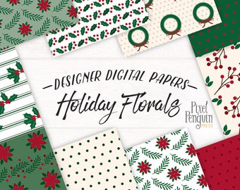 Christmas Floral Pattern Paper, Christmas Planner Graphics, Christmas Digital Paper Pack, Christmas Floral Paper, Download, Printable, Holly