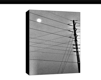 Telephone Pole with Wires, Black & White, Nighttime, Canvas Print Photograph