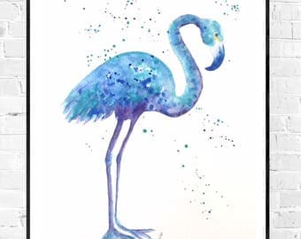 Original blue Flamingo painting-flamingo painting-wall art-nursery art-bleu art-bird painting-Original Oiseau-Zen watercolors