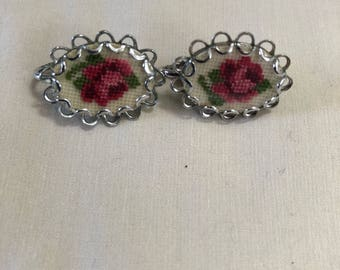 Vintage Rose Needlepoint Earrings