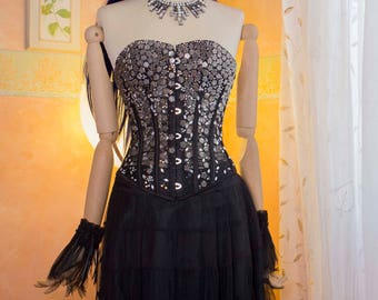 Fire dress black bustier beads and rhinestones