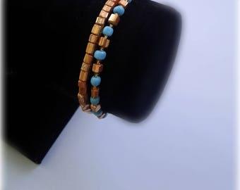 2 Baby Blue & Gold Beaded Bracelets