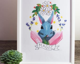 Magic Bun Bun / A4 BUNNY ART PRINT
