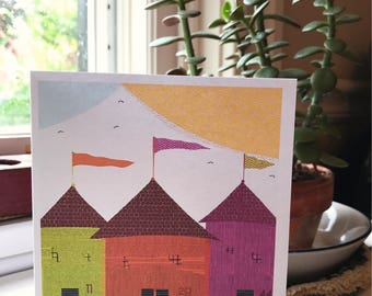 "Greeting cards with envelope ""three houses on a beach"""