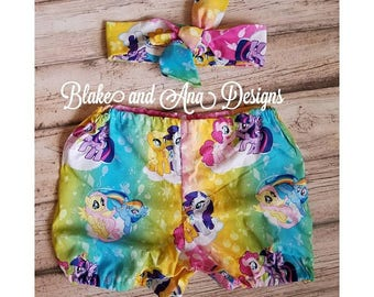 My Little Pony bubble shorts and Head wrap,  Size 4, birthday outfit