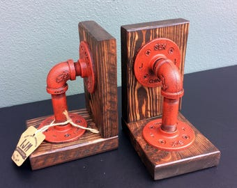 Industrial Bookends / Steampunk / Bookends / Industrial chic / industrial bookend / hand made / wood / iron / books