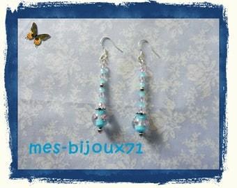 Long earrings - glass beads - light blue and light pink
