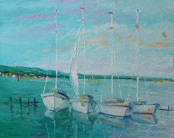 Italian Riviera Original Oil Painting On Canvas Ships Home Interior Wall Art Canvas Art Sea Painting Oil Ready to hang Palette knife