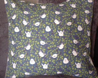cushion with white Birds and Grey background