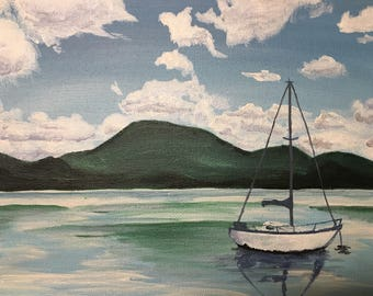 ORIGINAL Acrylic Sailboat at the Lake