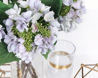 "Luxury Silk Hydrangea with Seeds Stem in Light Purple 19"" Tall"
