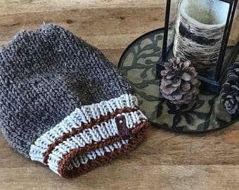 Hand Knitted Slouchy Toque Beanie with Burnt Orange Stipe work sock sockmonkey