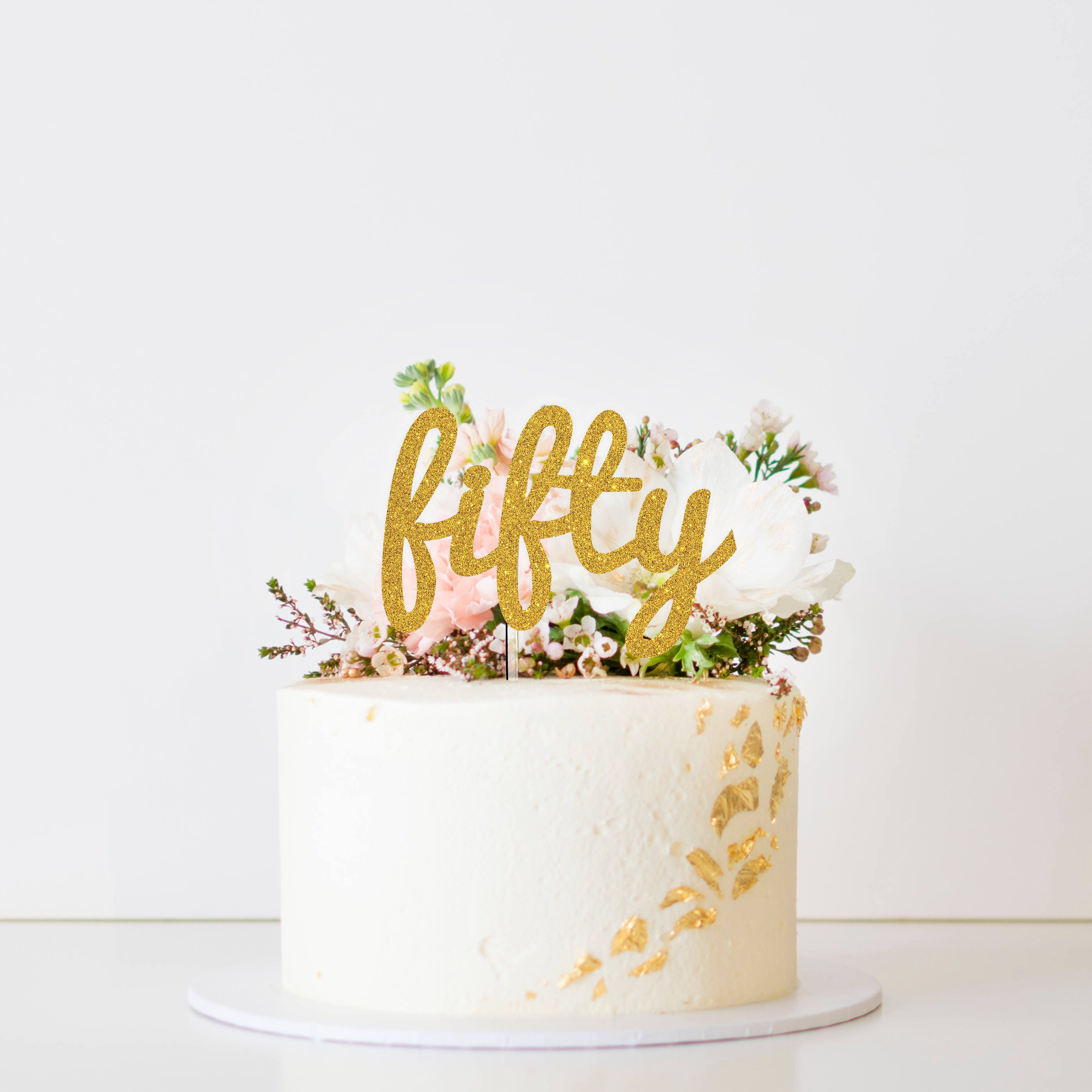 Glitter Fifty Cake Topper Calligraphy Fifty Cursive One Script Fifty