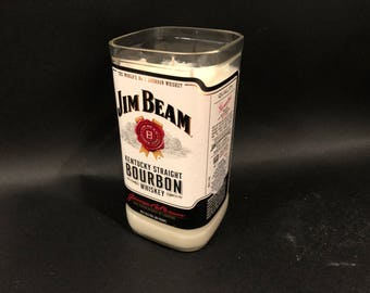 1 Liter vs 750ML Jim Beam White Label Bourbon Whiskey  Soy Candle. Made To Order !!!!!!!