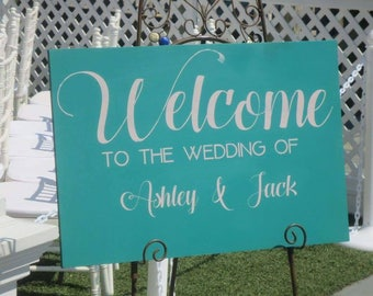 Welcome wedding sign - wedding decorations - wedding decor - custom wedding sign - wood wedding sign- welcome to our wedding - classy decor