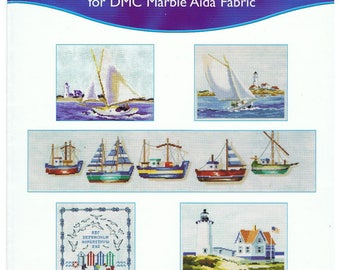 Grid 5 diagrams seaside DMC counted cross stitch