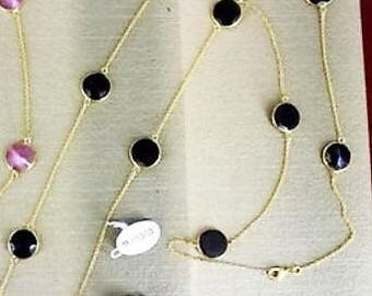 One string black stone necklace