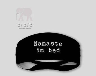 Namaste in Bed Thin or Thick Womens Non Slip Yoga Headband, Fitness Headband, Coachella Headband, Black Headband, Extra Wide Band, Bohemian