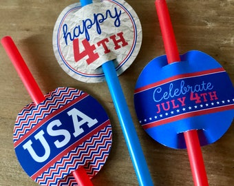 INSTANT DOWNLOAD - July 4th Straw Tags