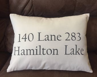 Hand Painted Address Throw Pillow-Home Decorative Pillow-Housewarming Gift-New Home-Special Location-Honeymoon Destination